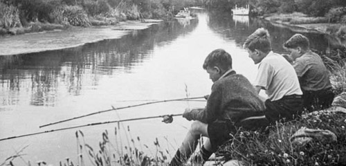 Boys fishing on Avon River [ca. 1938]