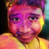Child with Holi colours