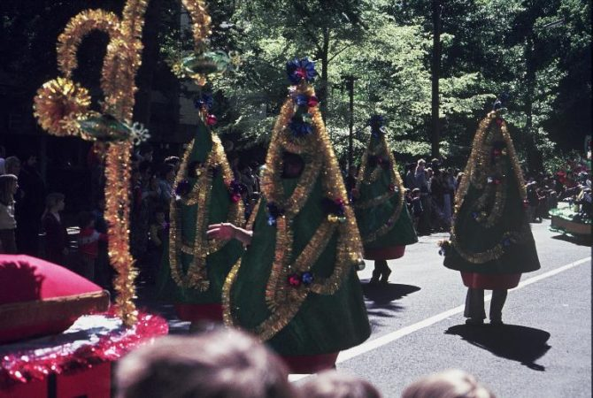 Christmas Trees at Hay's Christmas Parade, c. 1970.