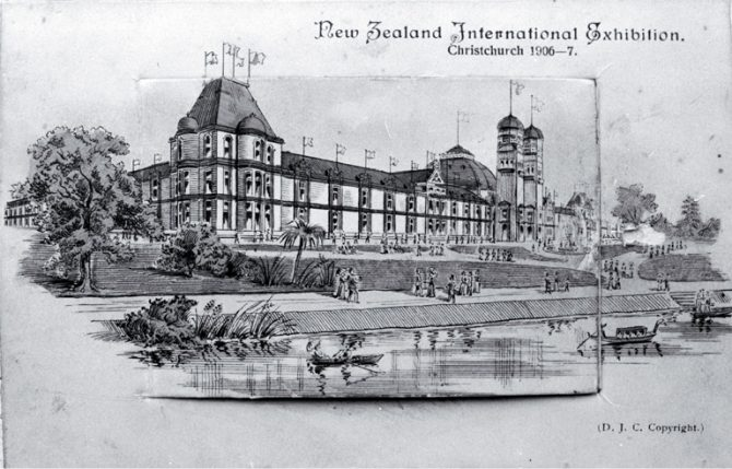 An artist's impression of the New Zealand International Exhibition 1906-07