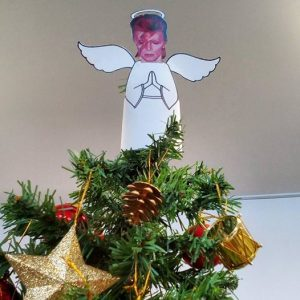Christmas Tree, Central Library Manchester (Angel made by Kelly Davies)