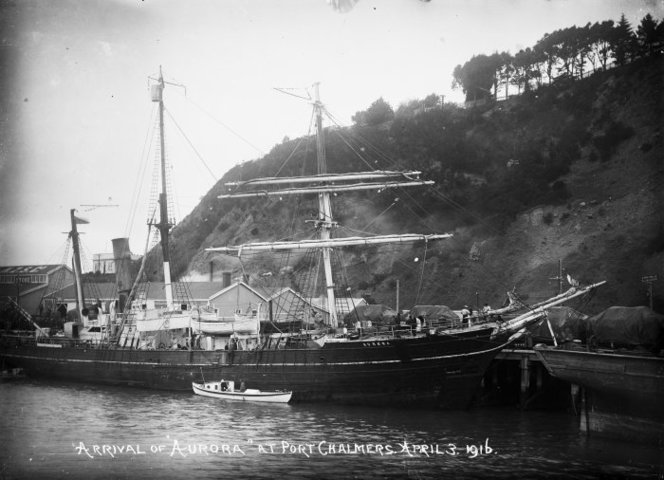 The ship Aurora at Port Chalmers , 1916