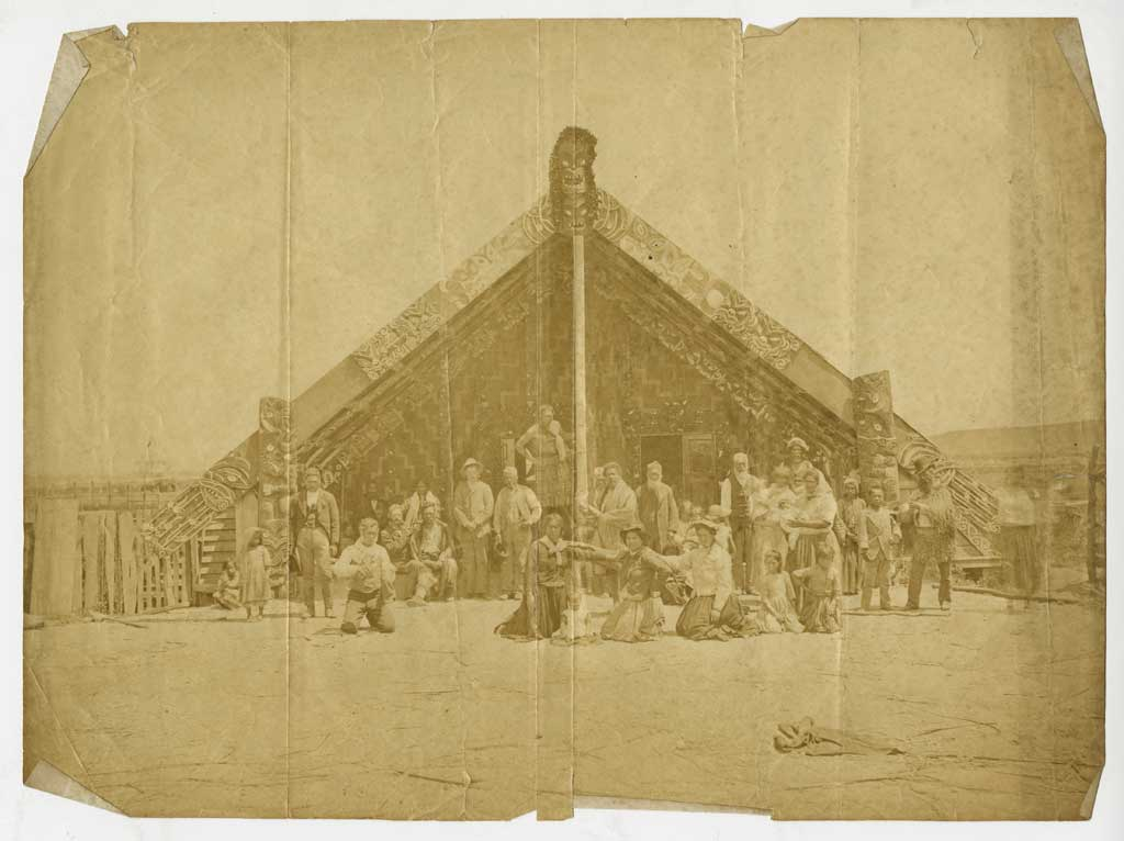 Photograph of a carved meeting house