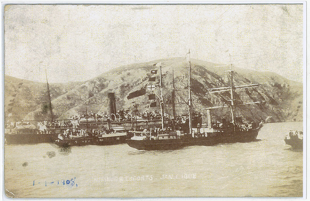 The Nimrod leaving Lyttelton for the Antarctic, 1908