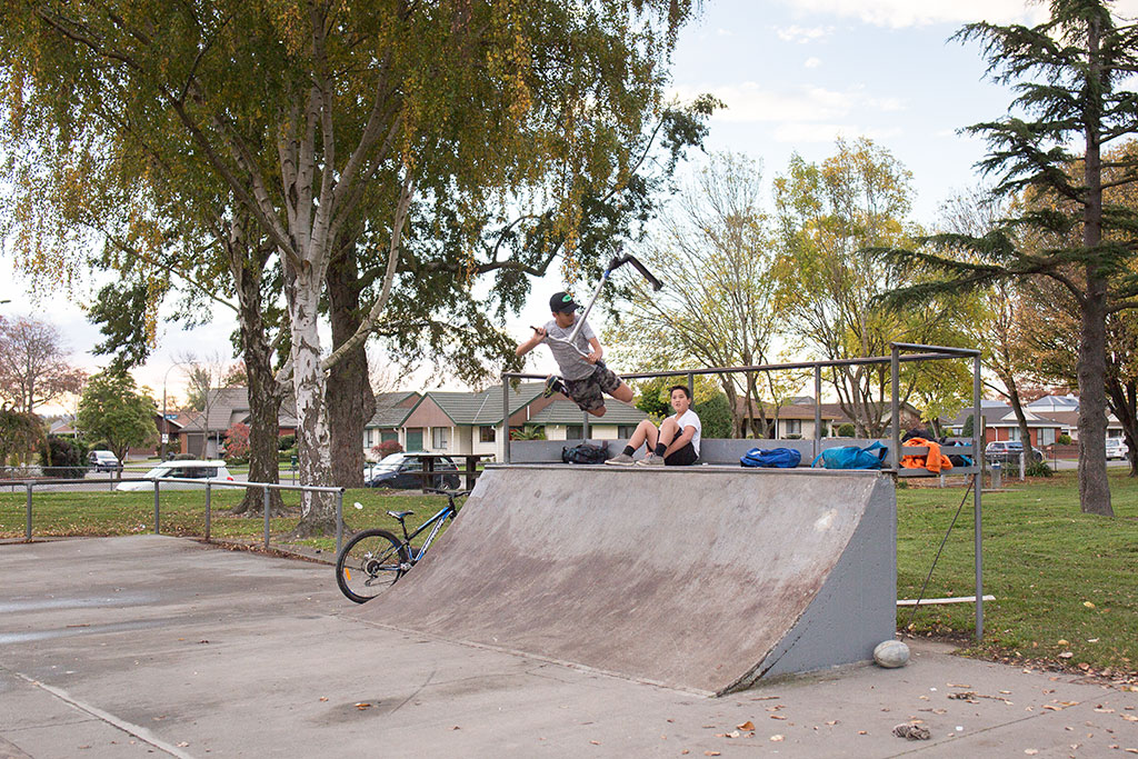 Teenagers playing at the Bishopdale skate park. Photo by Janneth Gil. CCL-BI2017-38-JG-5517