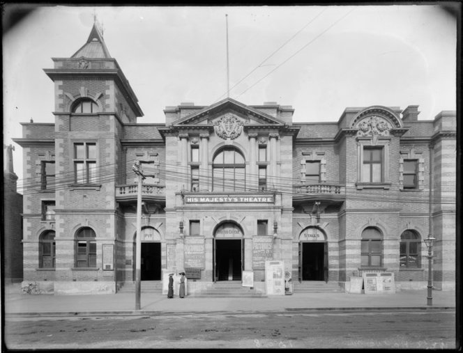 His Majesty's Theatre, Christchurch. Webb, Steffano, 1880-1967 : Collection of negatives. Ref: 1/1-003987-G. Alexander Turnbull Library, Wellington, New Zealand. https://natlib.govt.nz/records/22770930