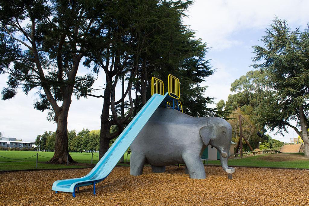 Elephant slide, Bishopdale Park. Photo by Liam Lyons. CCL-BI2017-LL-7239