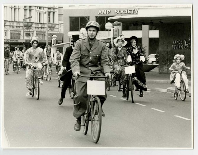 Recreational Cycle Club members in fancy dress, 1979